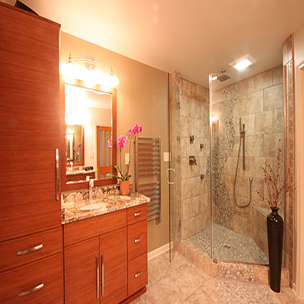 Green and White Pebble Tile Shower Floor & Wall Accent