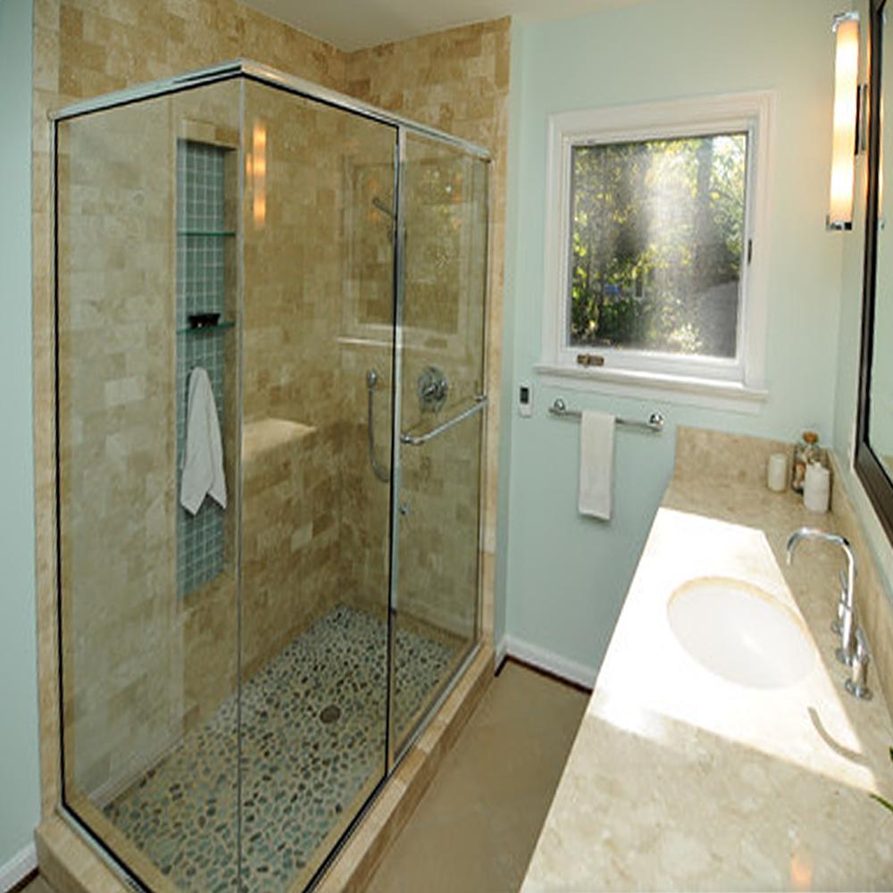 Green Pebble Tile Shower Flooring