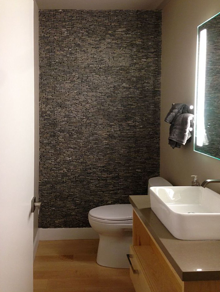 Grey Standing Mosaic Bathroom Feature Wall
