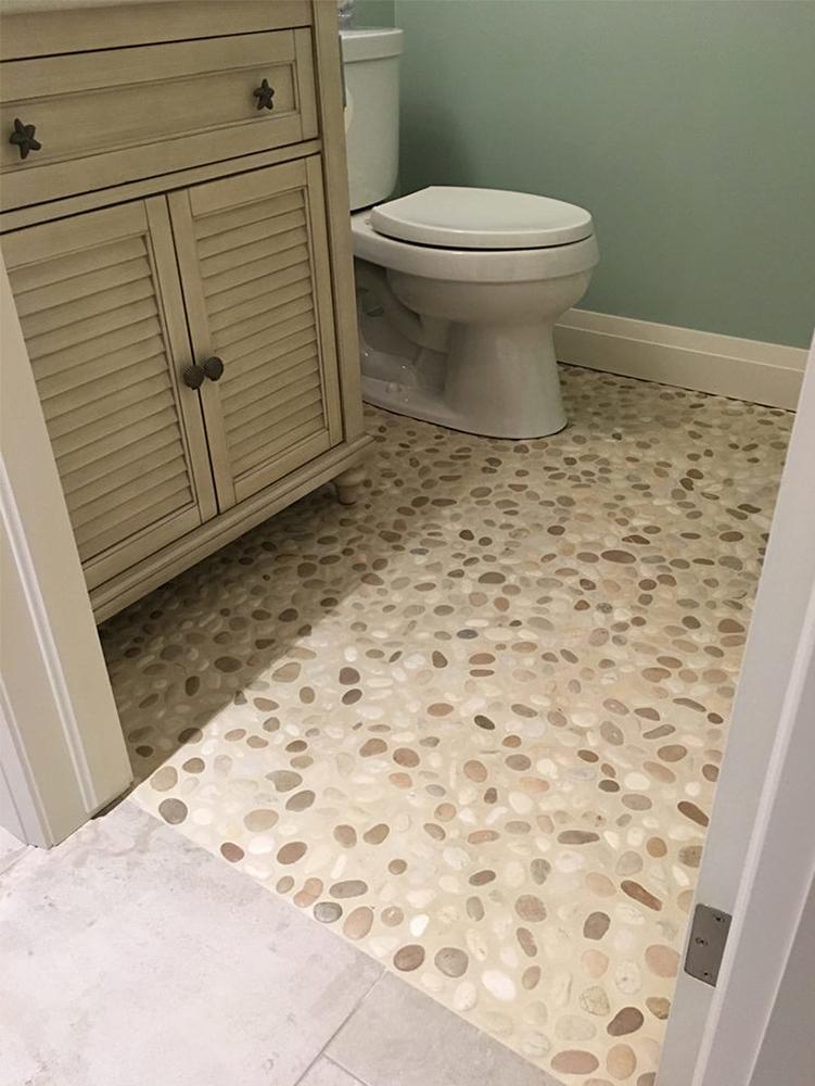 Java Tan and White Pebble Bathroom Flooring