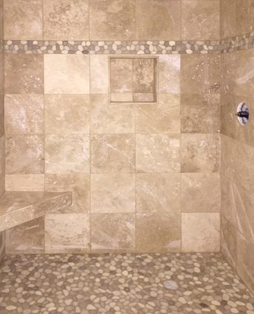 Java Tan and White Pebble Tile Shower Border