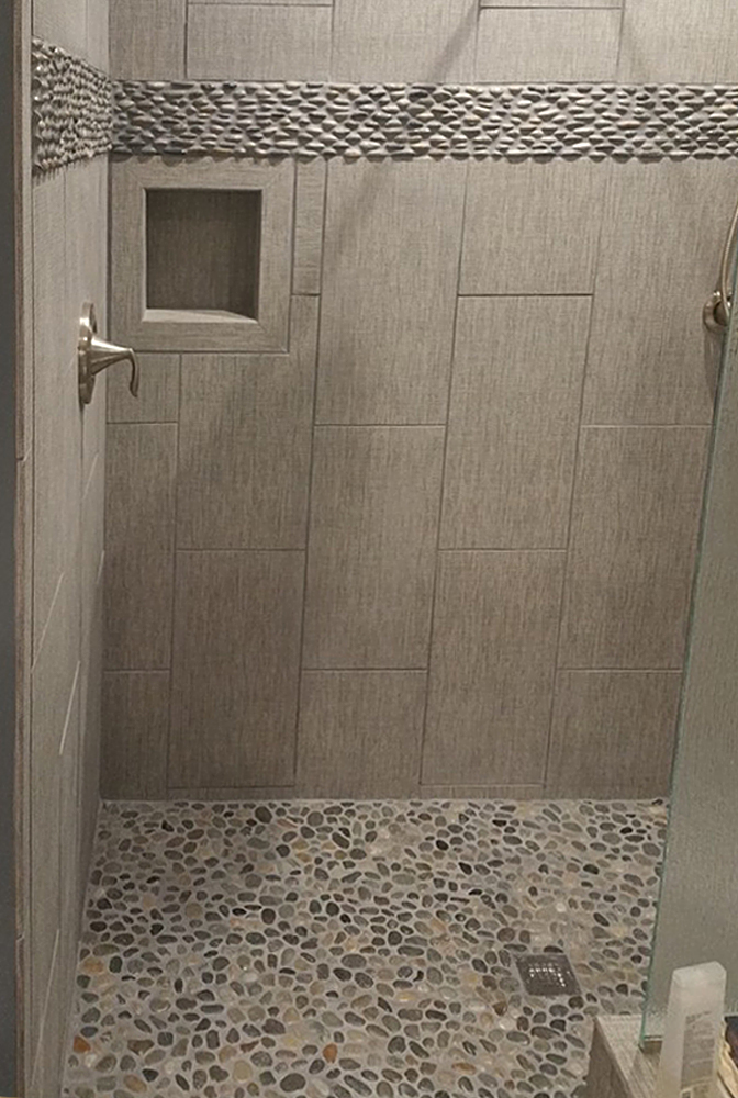 Java Tan Standing Pebble Tile Shower Border