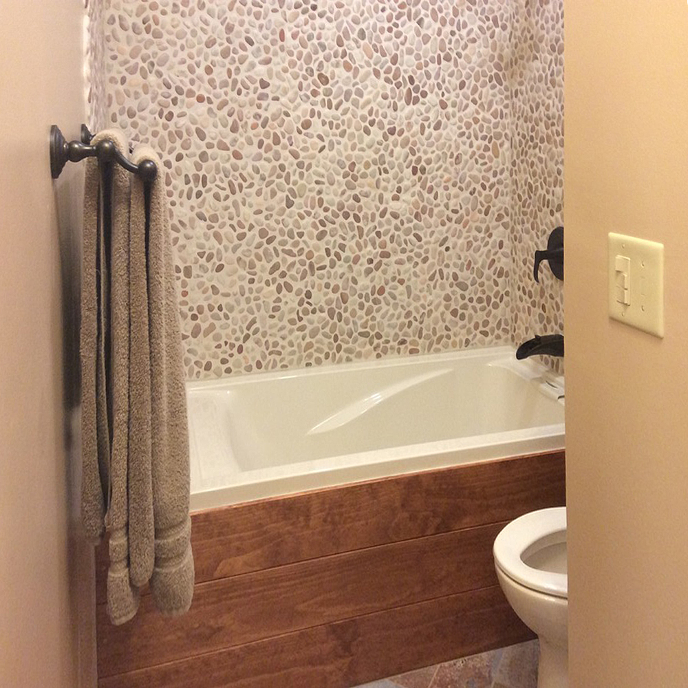 Berry Pebble Tile Tub Surround and Wall