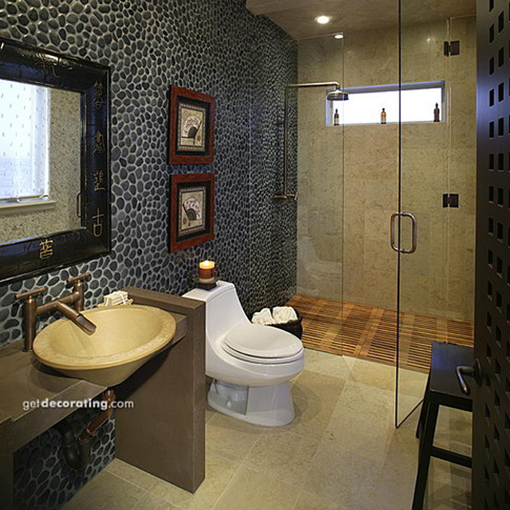 Black Pebble Tile Bathroom Wall Covering