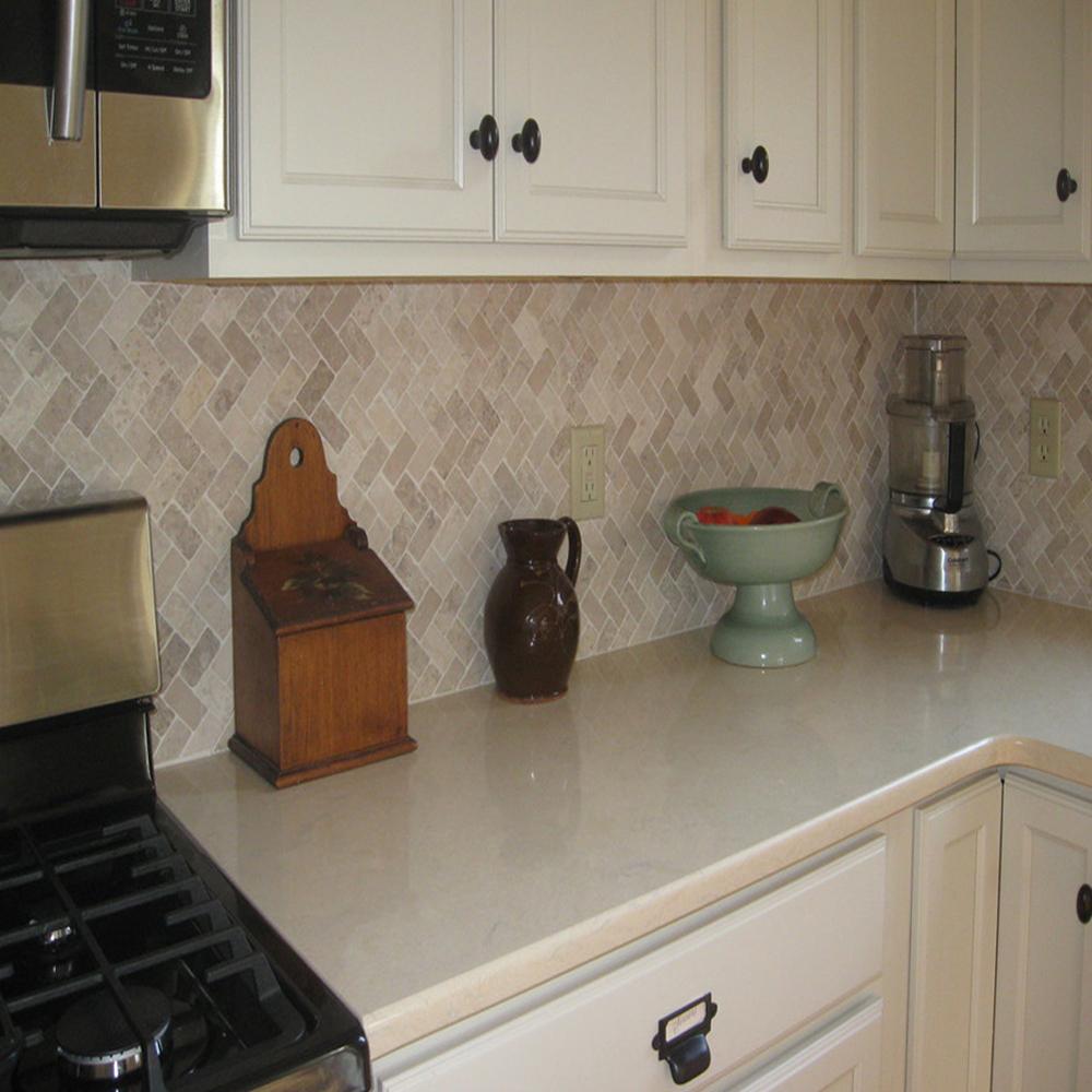 Cream Herringbone Stone Mosaic Kitchen Backsplash