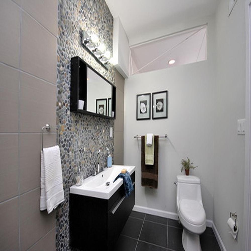 Dark Ocean Pebble Tile Bathroom Backsplash