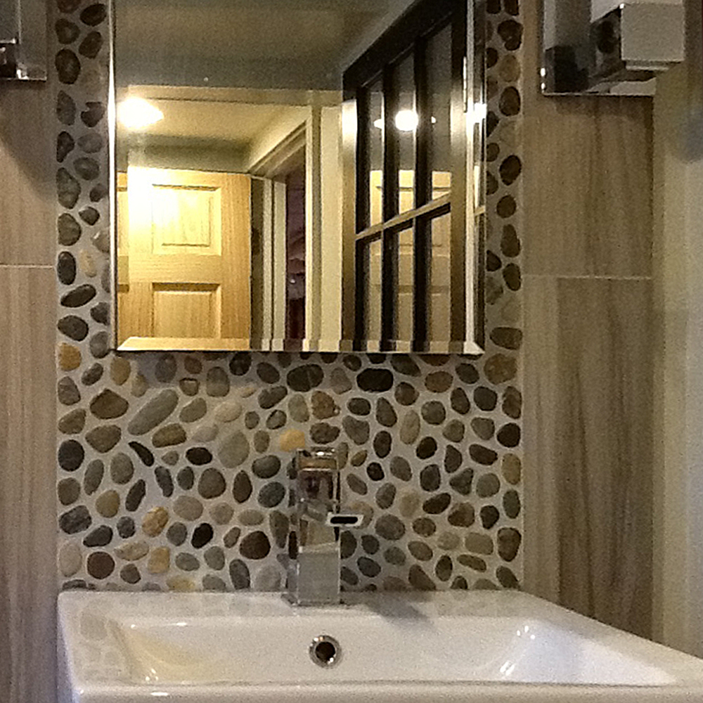 Glazed Bali Ocean Pebble Tile Bathroom Vanity