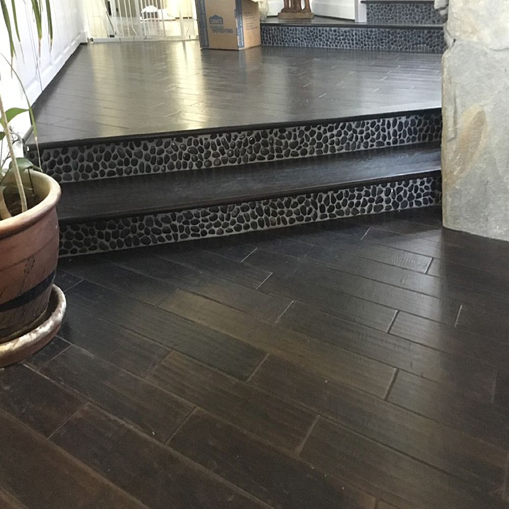Glazed Charcoal Black Pebble Tile Stair Risers