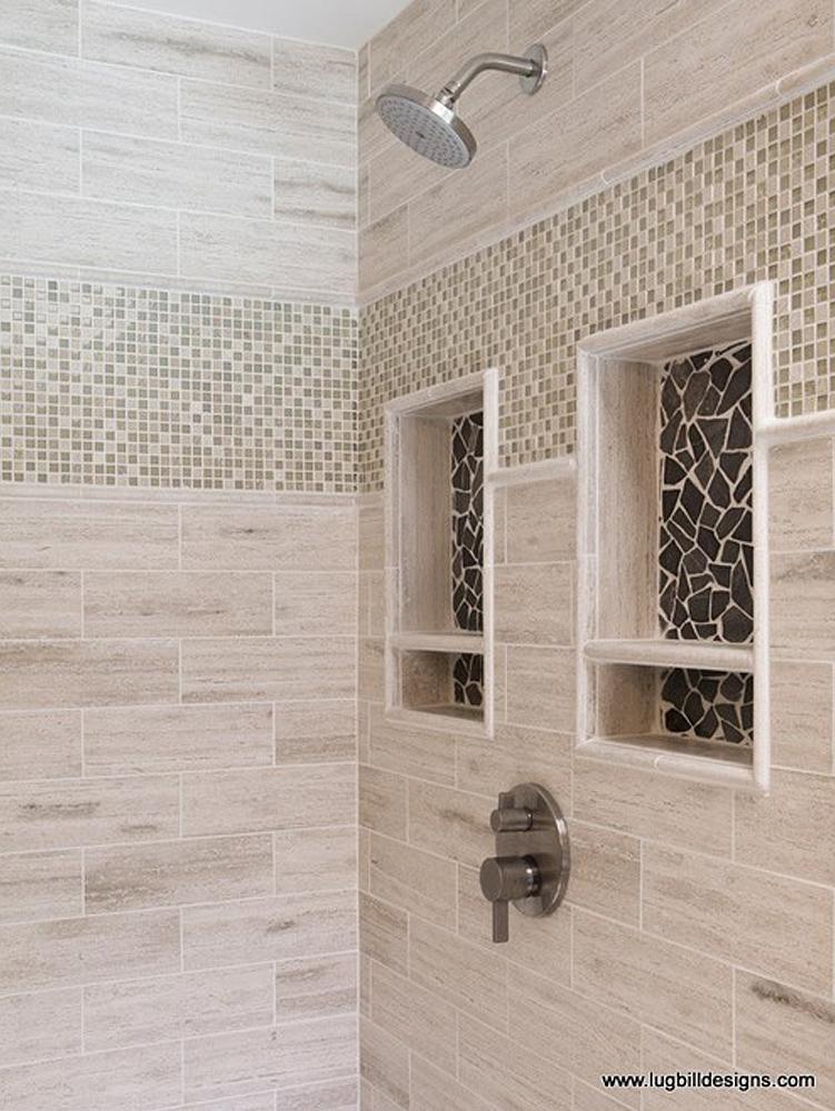 Glazed Grey Marble Shower Niche Accents