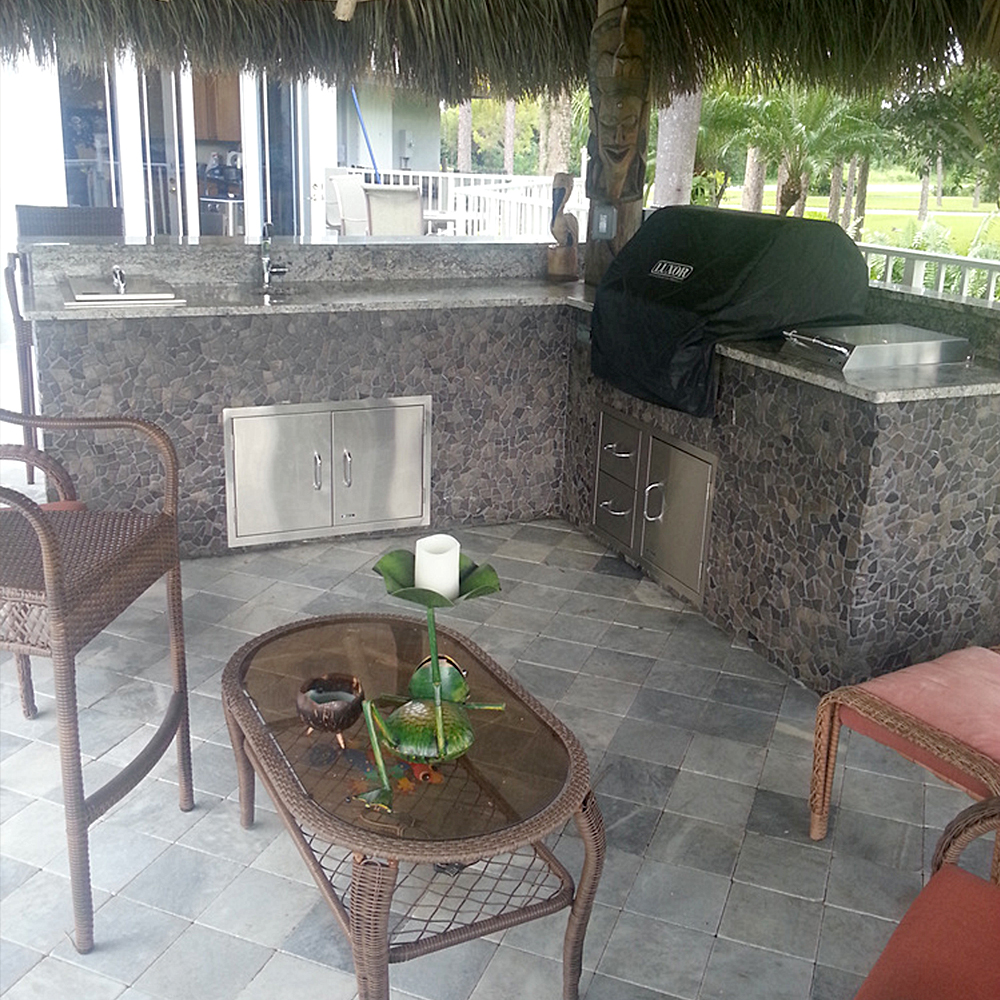 Glazed Grey Mosaic Tile Outdoor Kitchen