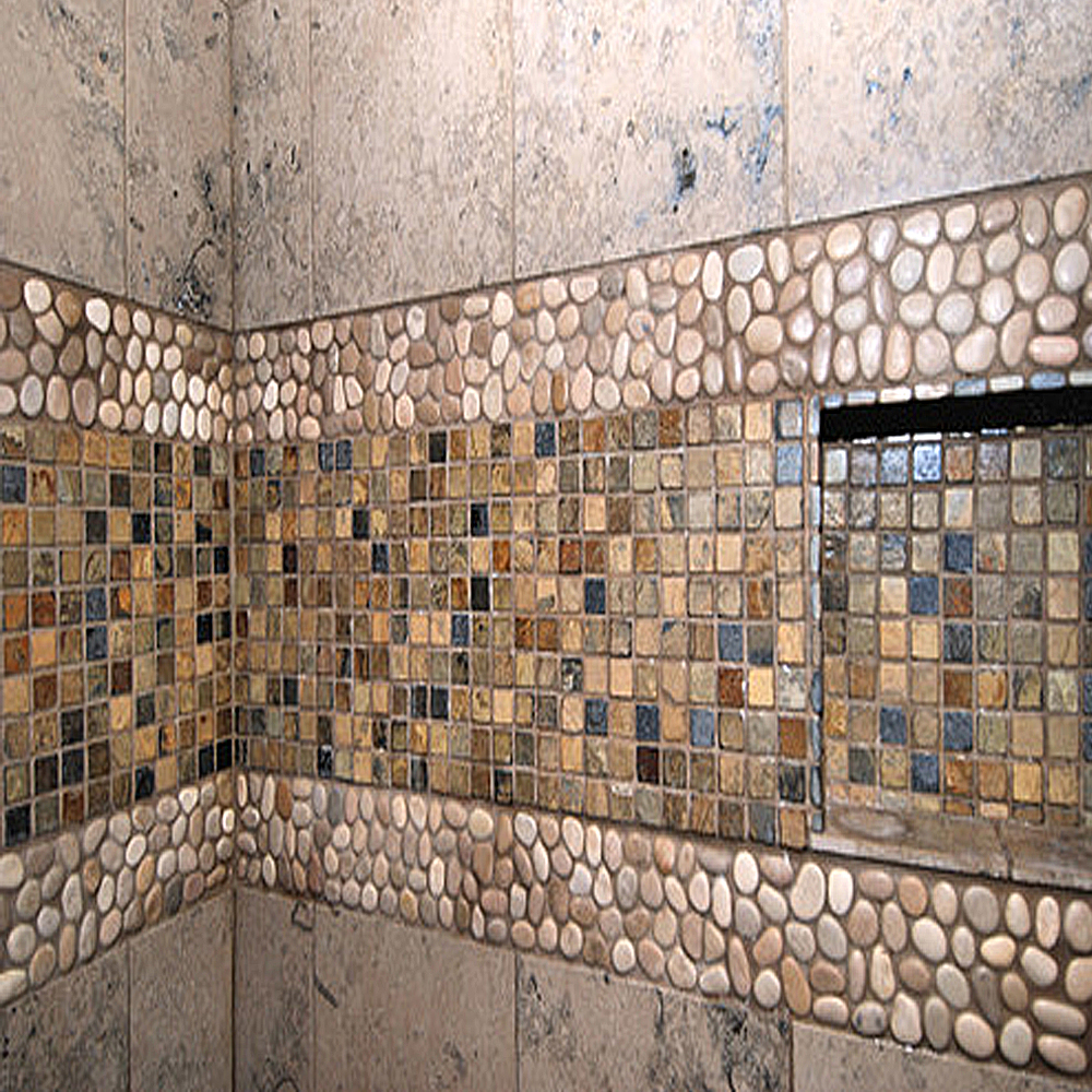 Glazed Tan Pebble Shower Border