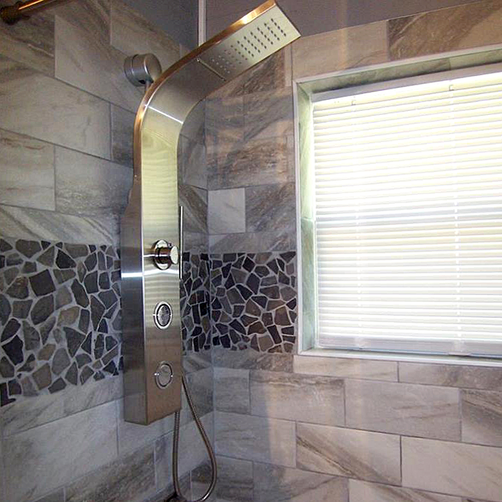 Grey Stone Mosaic Tile Shower Wall Accent