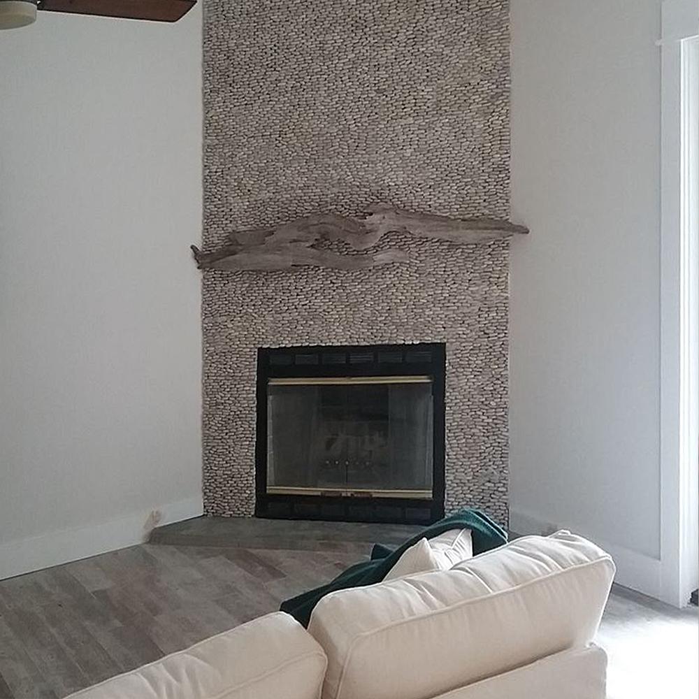 Java Tan Standing Pebble Tile Fireplace