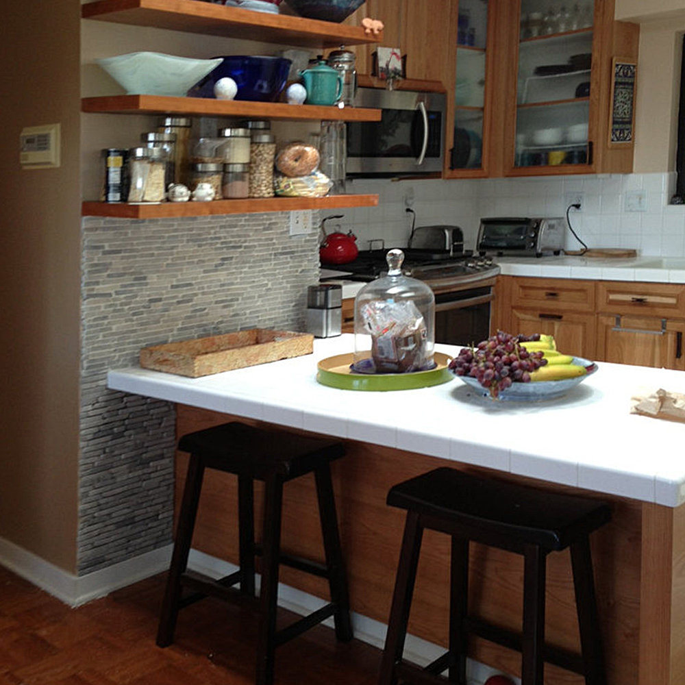 Light Grey Pencil Stone Tile Kitchen Feature Wall