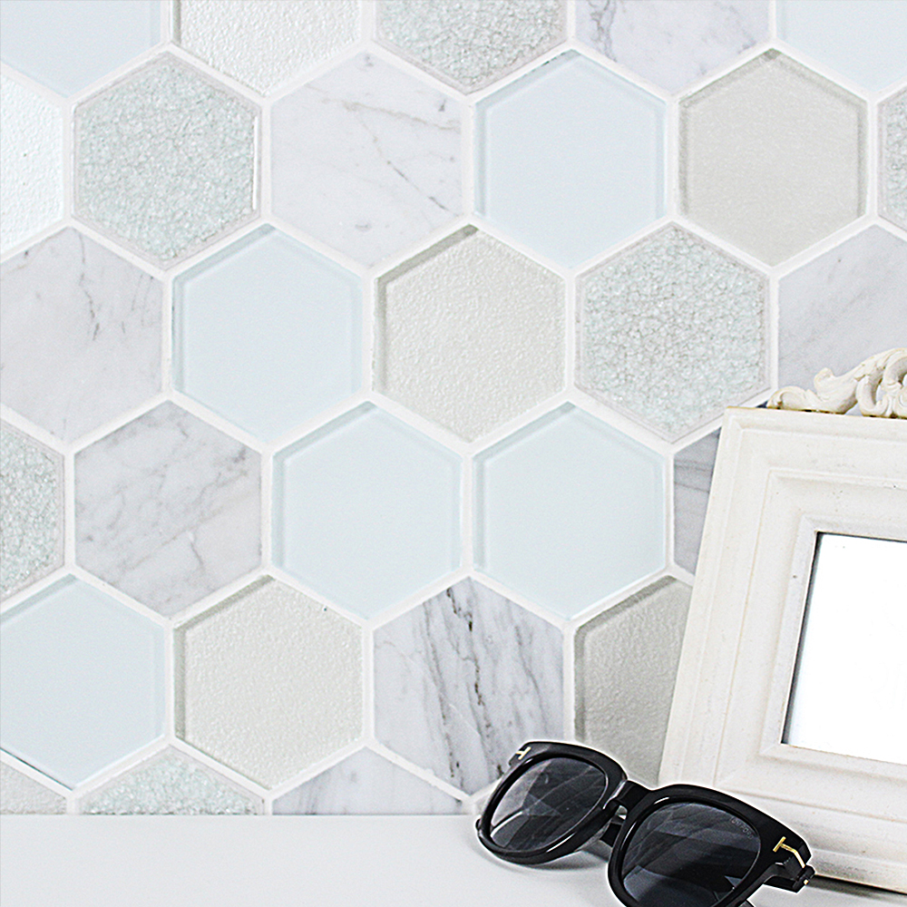 Mist Blend Hexagon Tile Backsplash