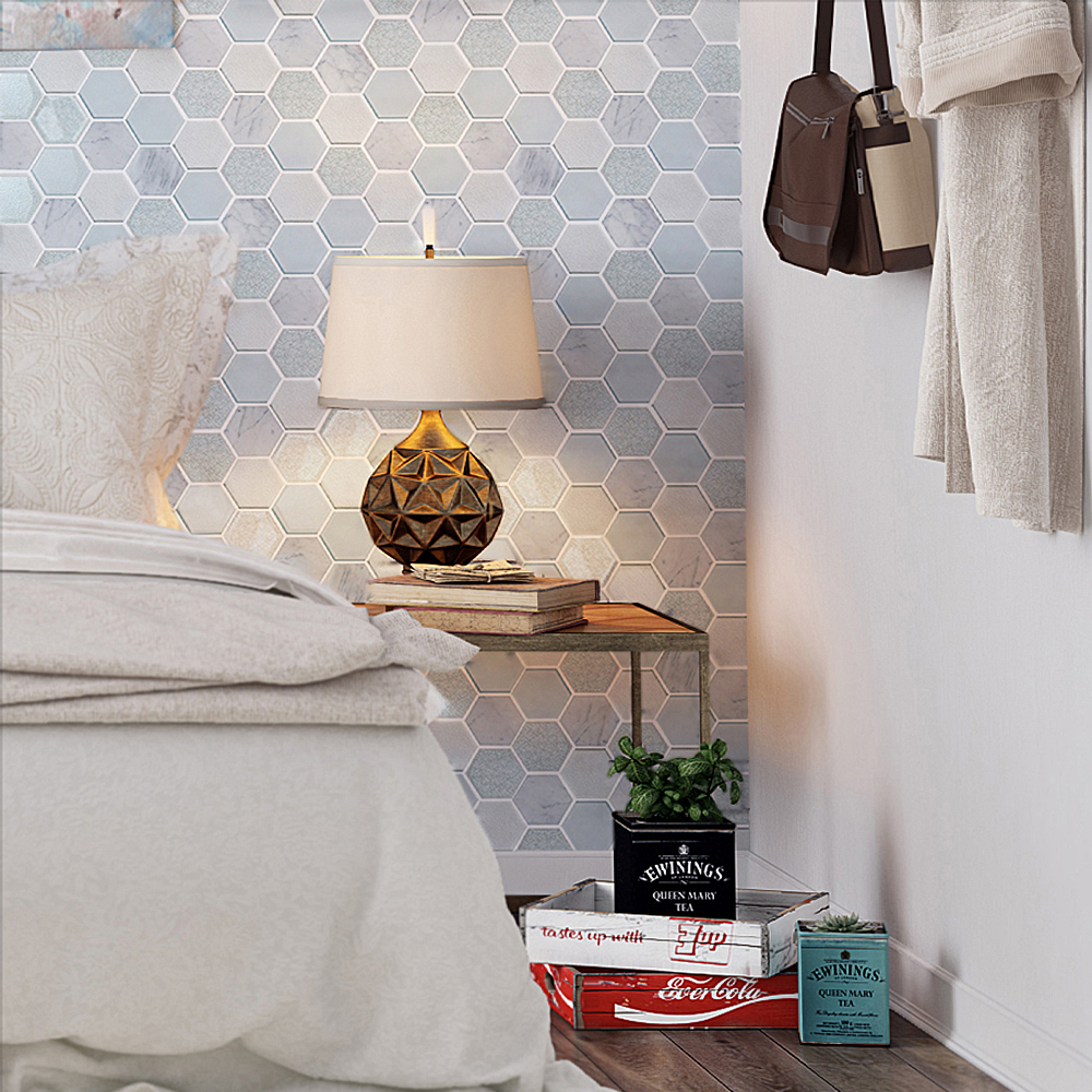 Mist Blend Hexagon Tile Bedroom Accent Wall