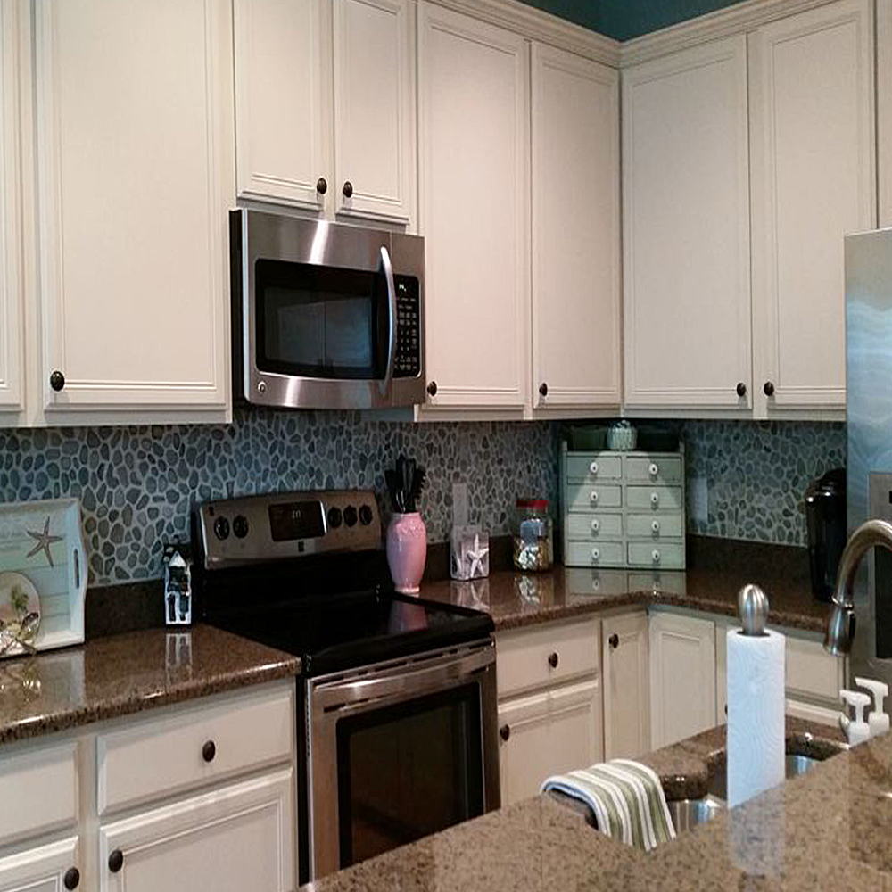 Sea Green Pebble Tile Kitchen Backsplash