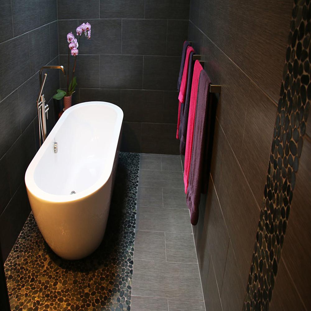 Sliced Charcoal Black Pebble Tile Luxury Bathroom Floor and Wall Accent