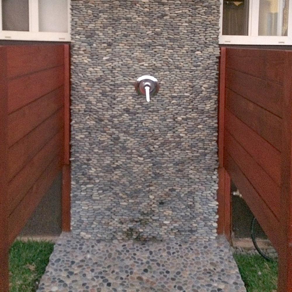 Standing Bali Ocean Pebble Tile Outdoor Shower