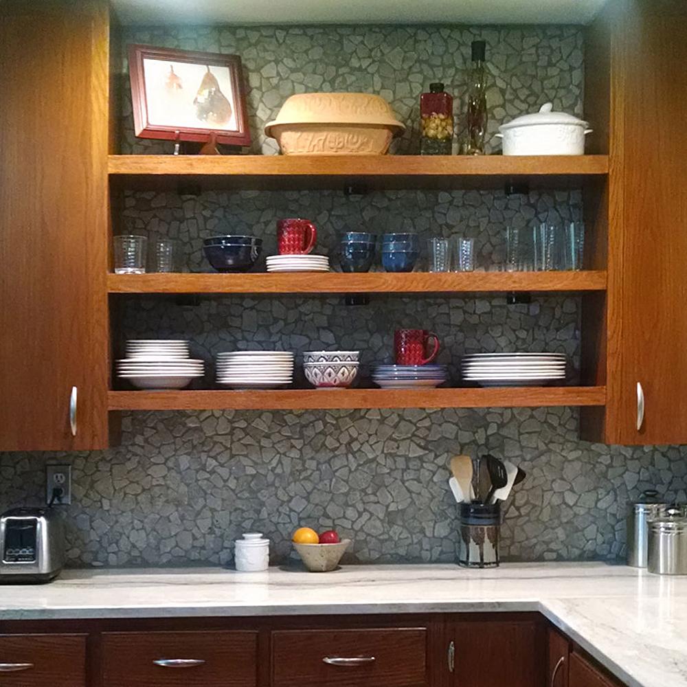 Stone Grey Mosaic Tile Kitchen Backsplash