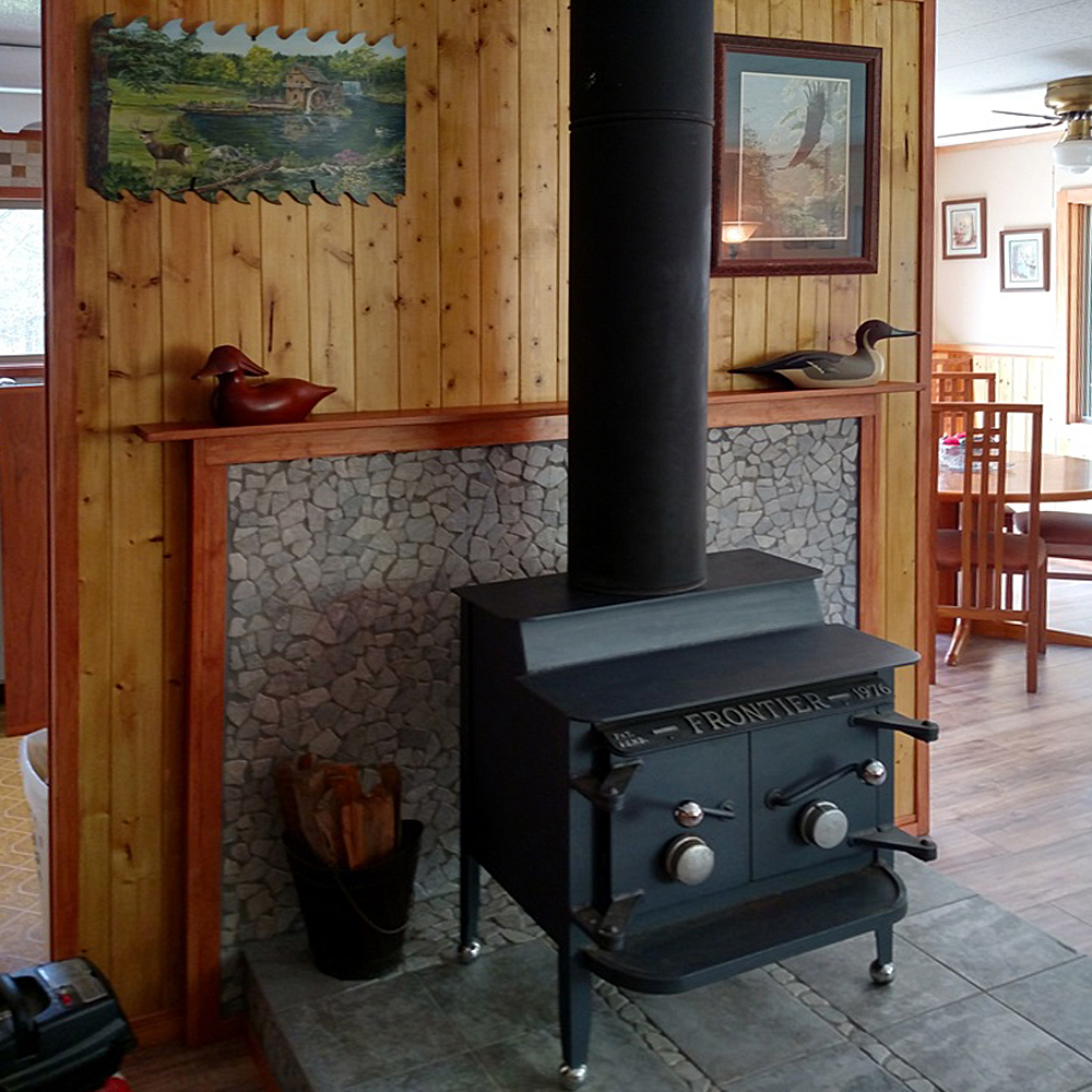 Stone Grey Mosaic Tile Wood Stove Surround