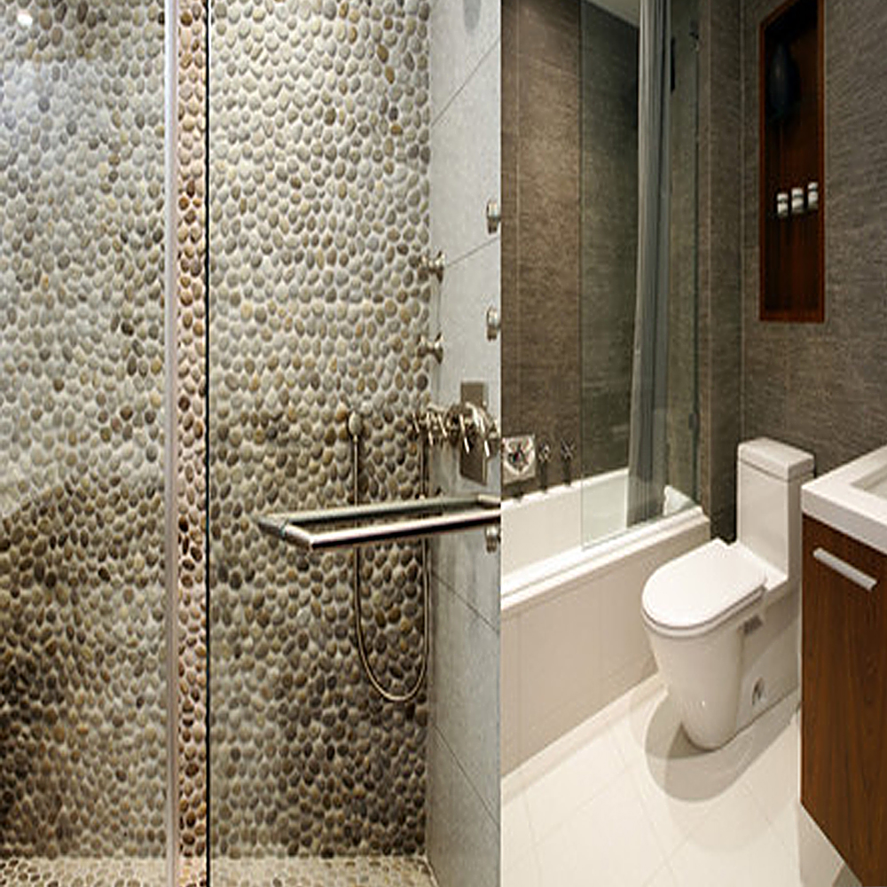 Tan Pebble Tile Shower Walls