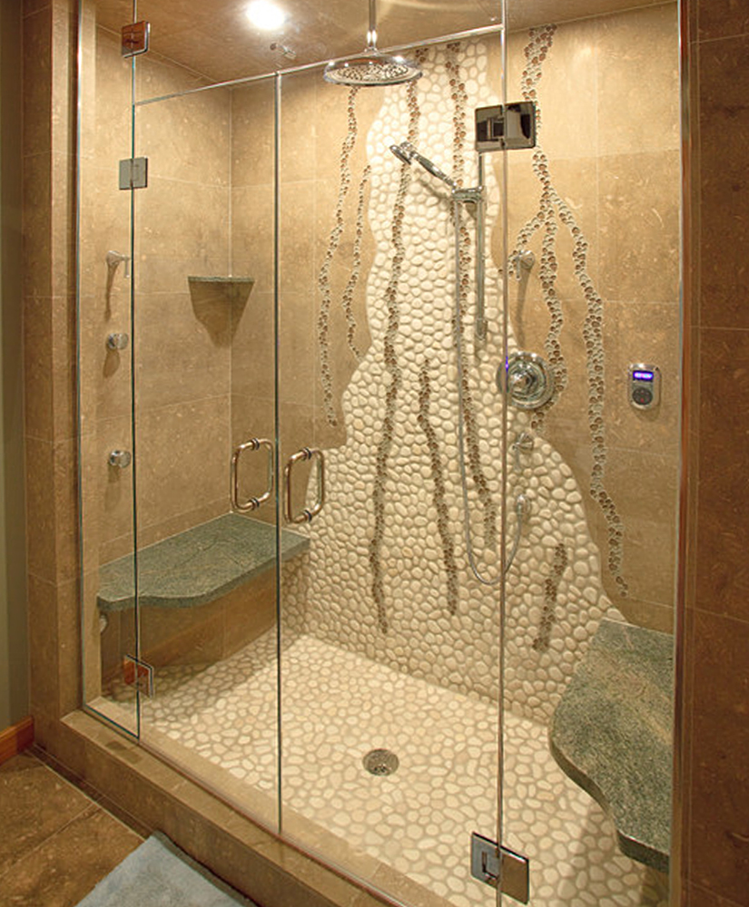 unique-shower-wall-design-with-white-pebble-tile-and-glass