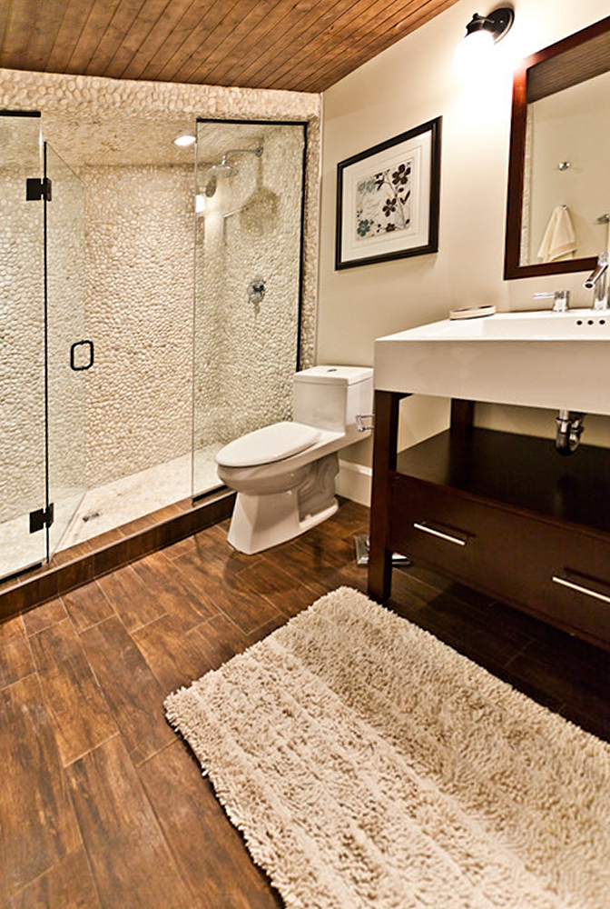 White Pebble Tile Steam Shower