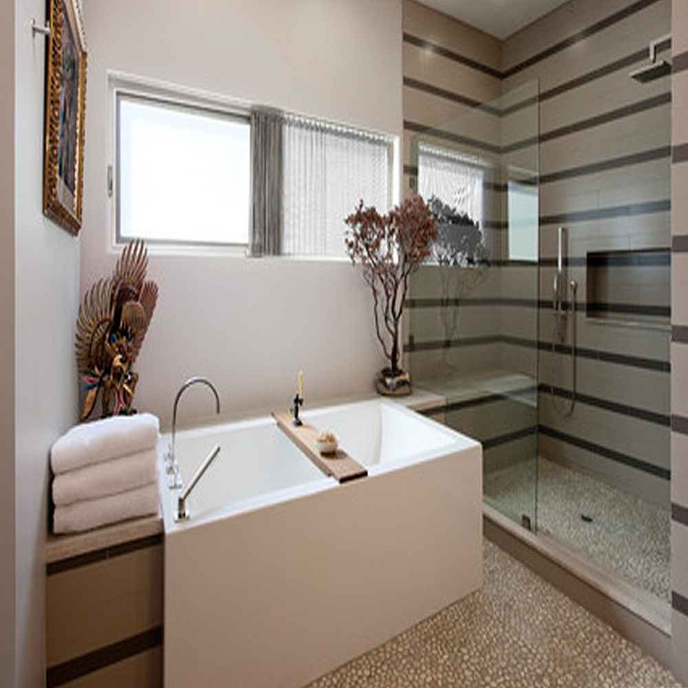 Modern Bathroom & Shower with Tan Pebble Tile Flooring