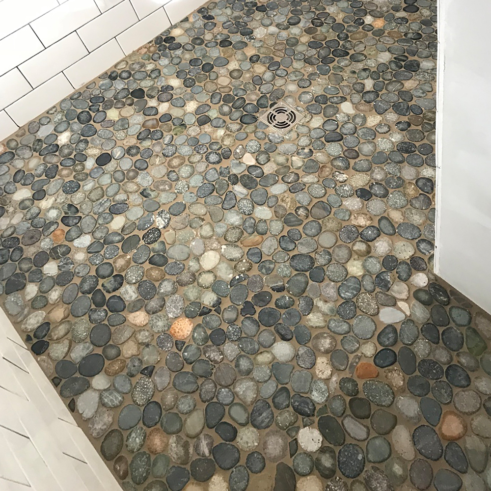 Ocean Pebble Tile Shower Pan with Grey Grout
