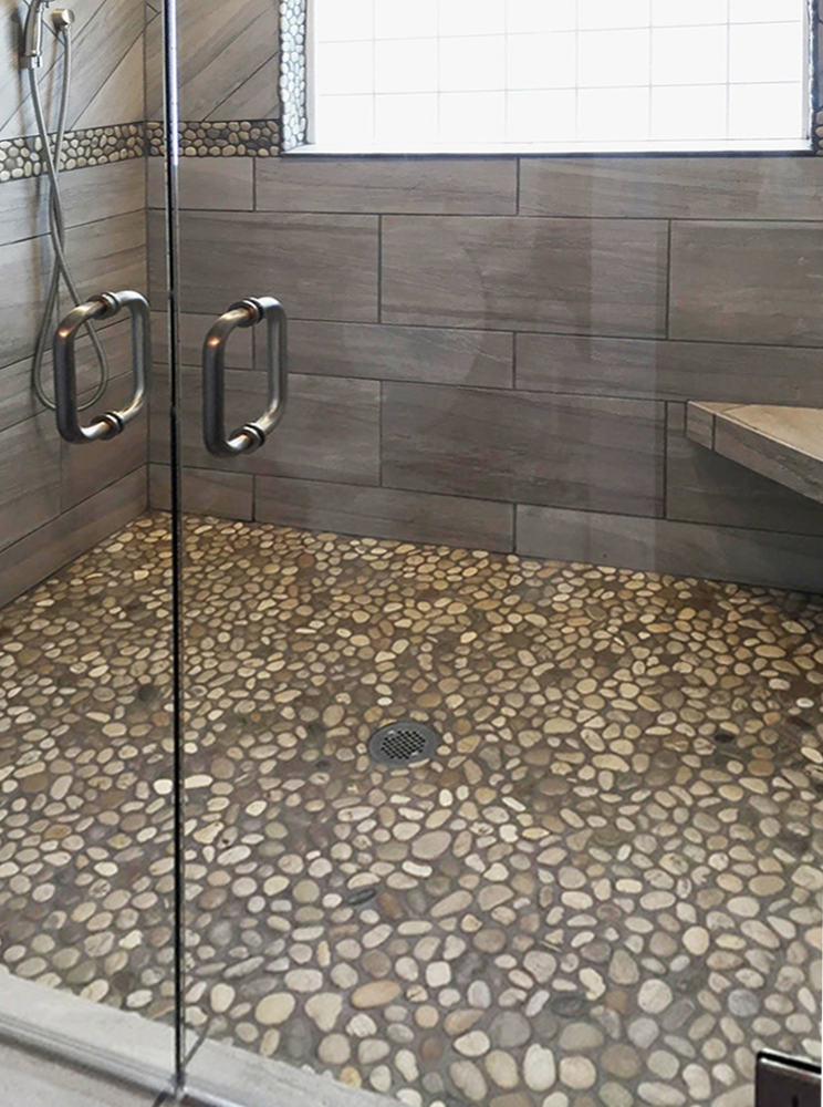 Bali Cloud Pebble Tile Shower Floor and Border with Dark Grout