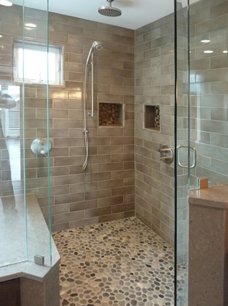 Bali Cloud Pebble Tile Shower Flooring