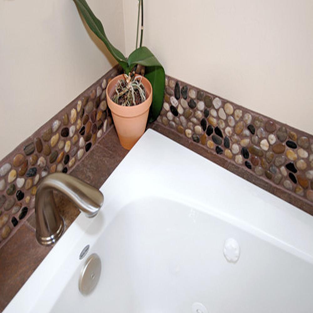 Polished Mixed Pebble Tile Bathroom Backsplash