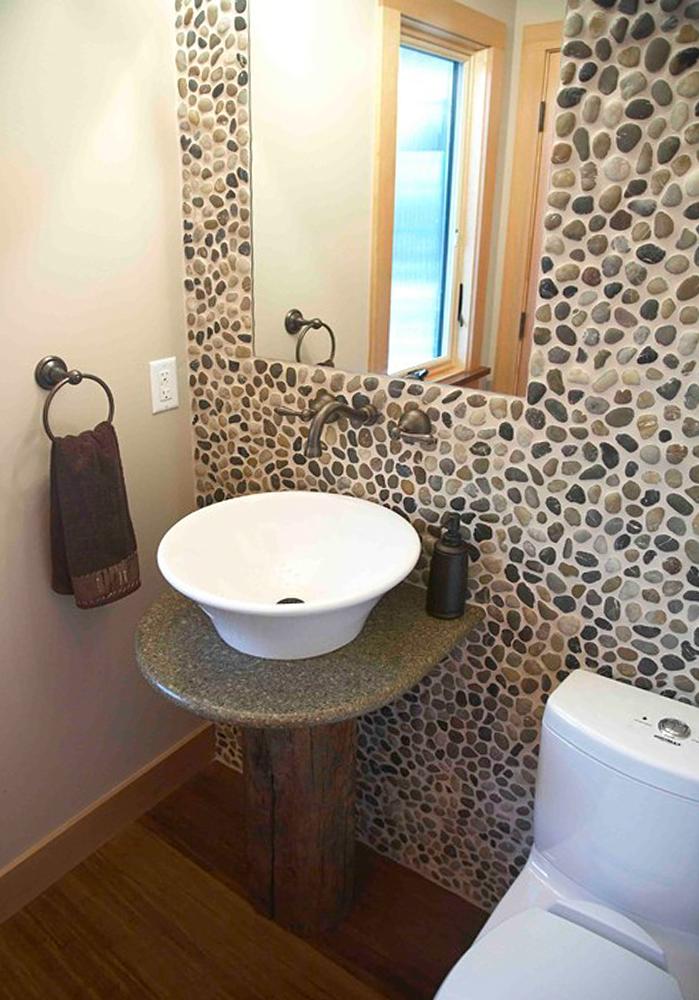 Polished Mixed Pebble Tile Bathroom Wall & Backsplash