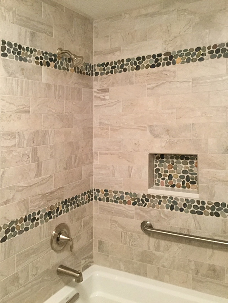 Sliced Bali Ocean Pebble Tile Shower Border And Niche