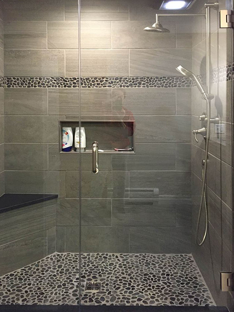 Charcoal Black Pebble Tile Border Shower Accent