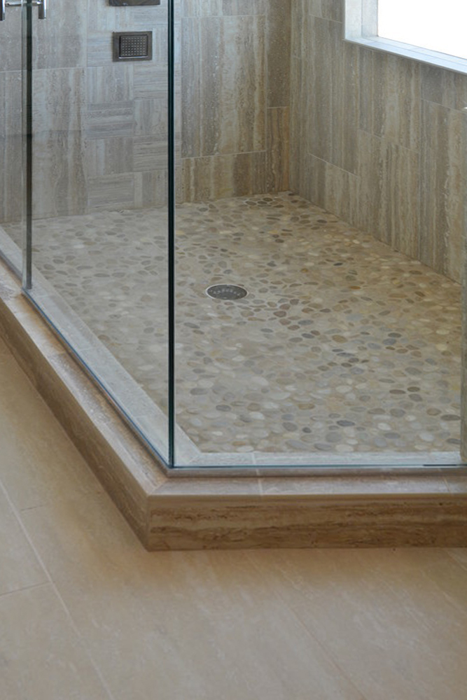 Contemporary Tan Pebble Shower Pan