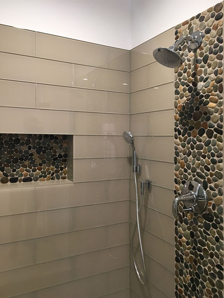 Glazed Bali Ocean Pebble Tile Shower Feature