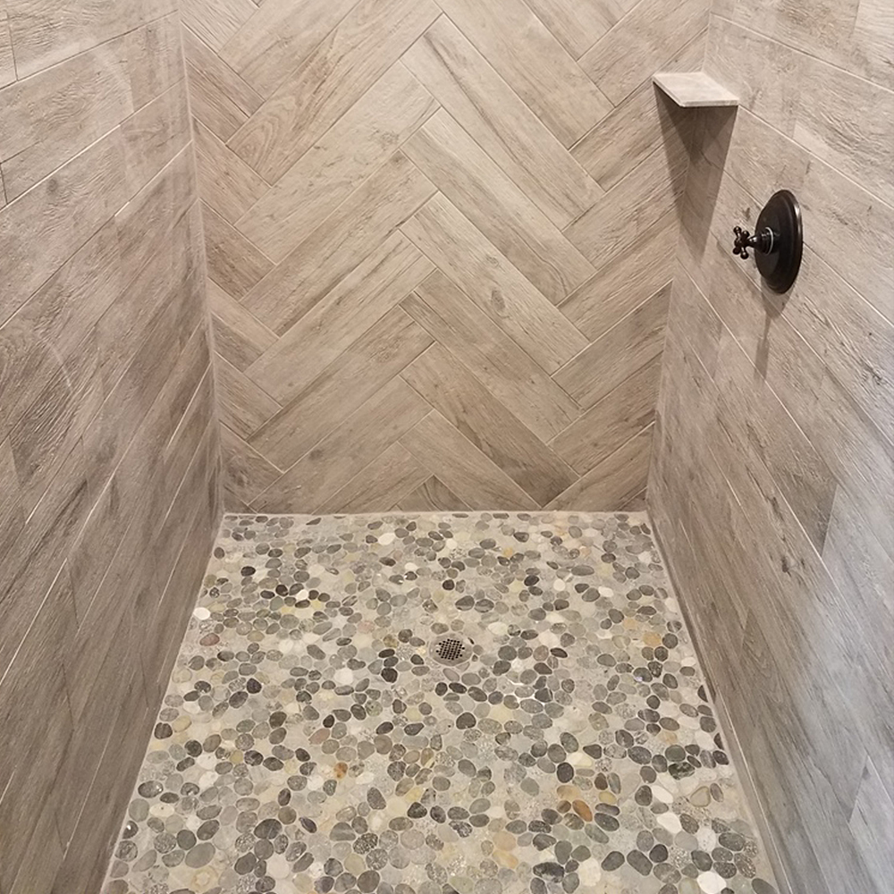 Sliced Bali Ocean Pebble Tile Shower Pan 2