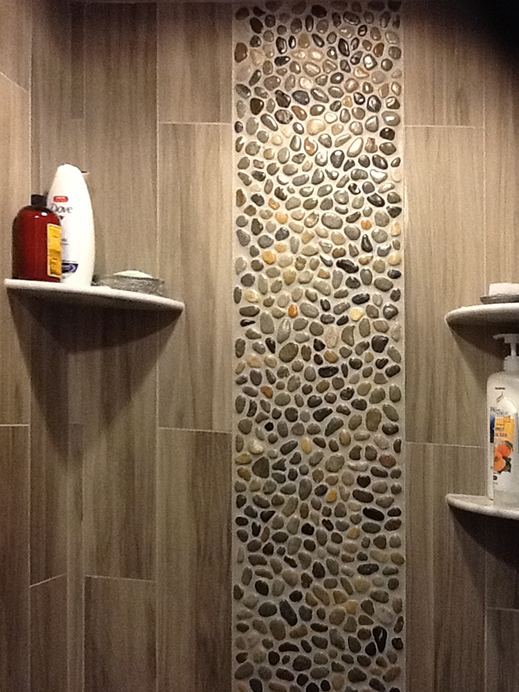 Glazed Bali Ocean Pebble Tile Shower Wall Accent