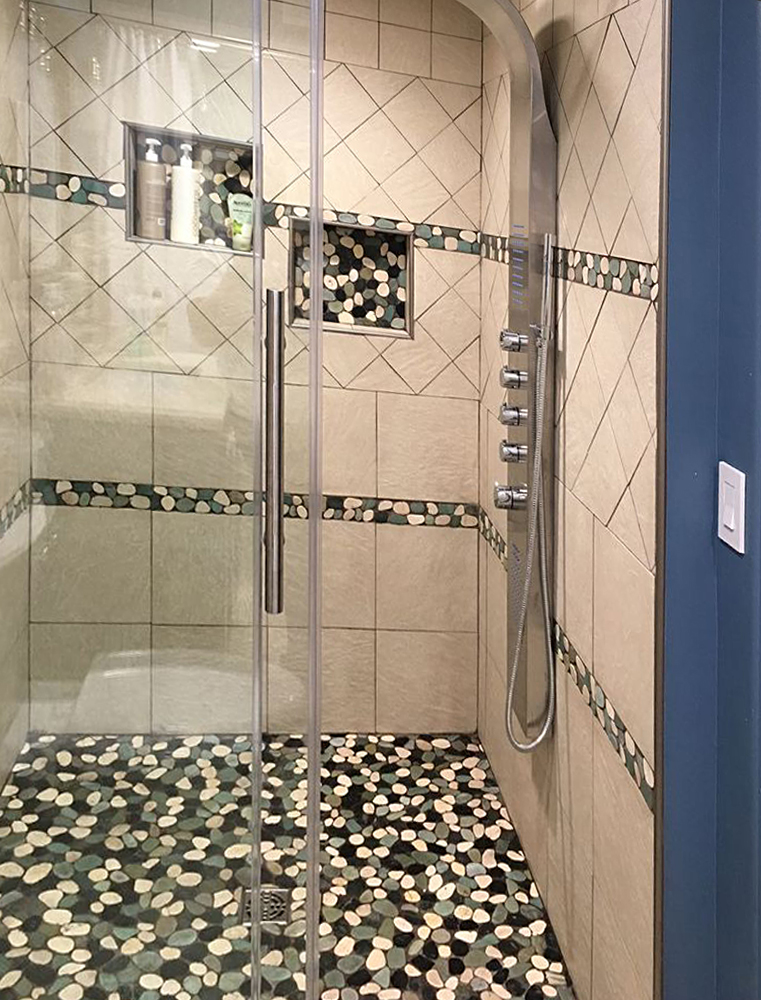 Sliced Bali Turtle Pebble Tile Shower and Accents