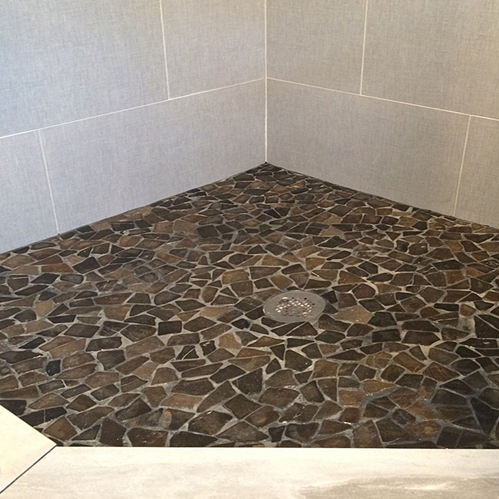 Glazed Grey Stone Mosaic Tile Shower Floor
