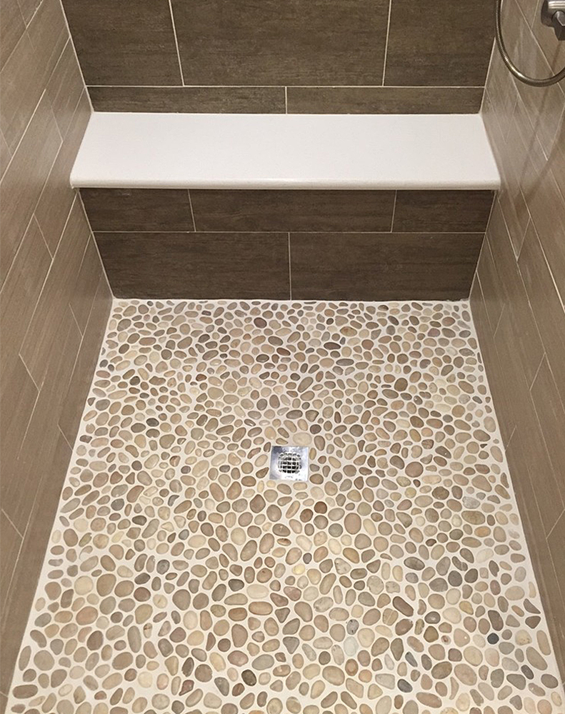 Glazed Java Tan Pebble Tile Shower Pan