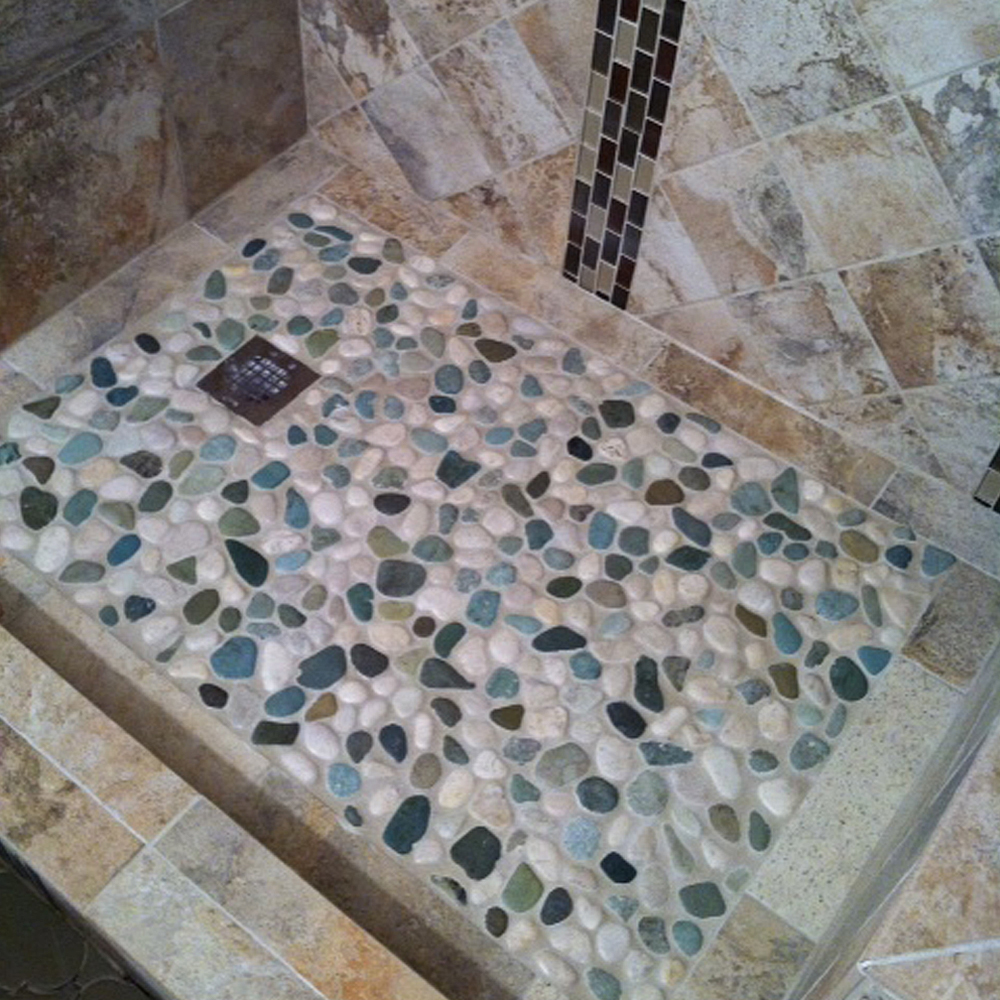 Glazed Sea Green and White Pebble Tile Shower Pan