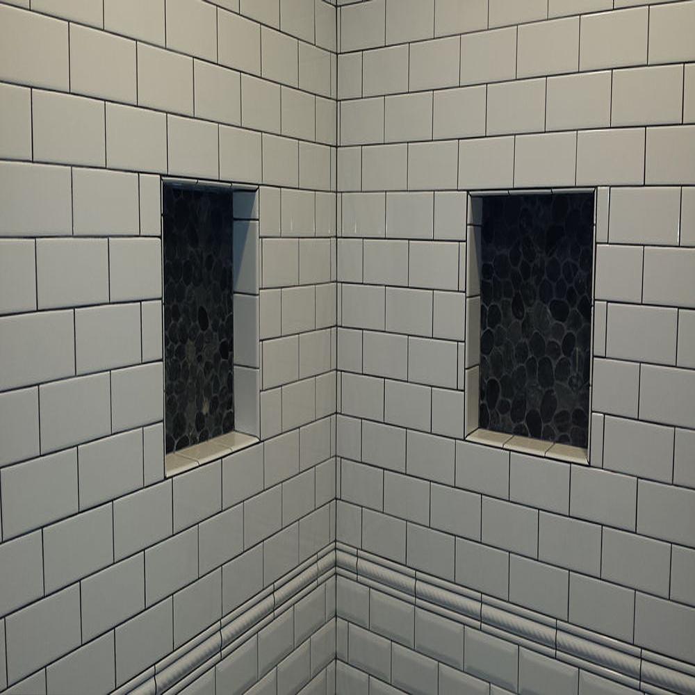 Sliced Charcoal Black Pebble Tile Inset