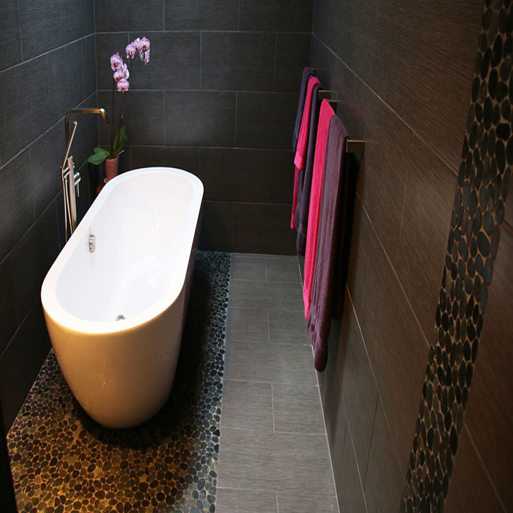Sliced Charcoal Black Pebble Tile Luxury Bathroom Floor and Wall Accent
