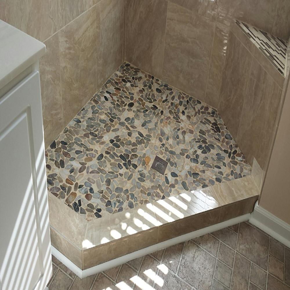 Sliced Cobblestone Pebble Tile Shower Floor