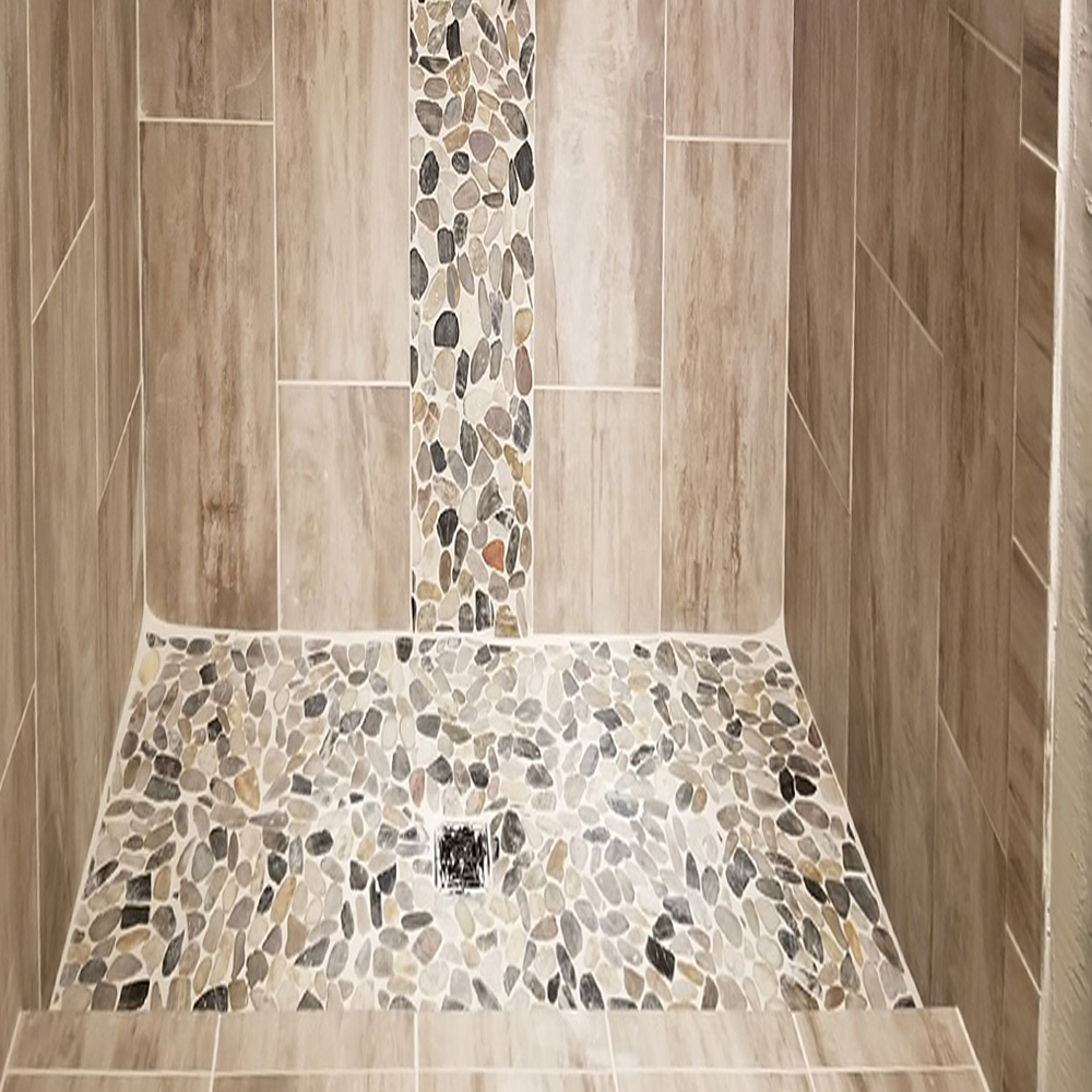 Sliced Cobblestone Pebble Tile Shower Pan and Accent Strip