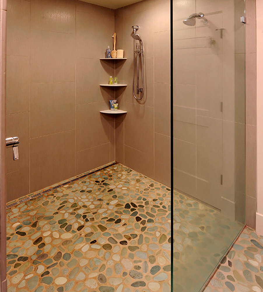 green pebble shower floor tile