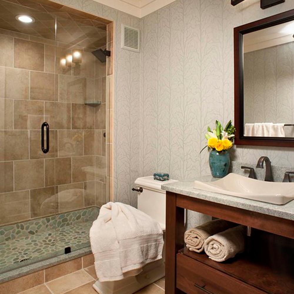 Green Pebble Tile Shower Pan